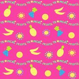 Seamless horizontal pattern. Tropical fruits, sun and lettering. stock illustration