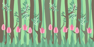 Seamless horizontal pattern with tulips and trees Royalty Free Stock Photos