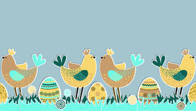 Seamless Horizontal Pattern With Birds And Eggs Stock Photos