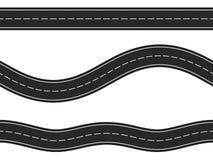 Seamless Horizontal Roads. Three seamless horizontal asphalt roads on white background Stock Photos