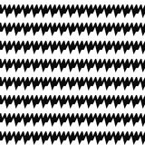 Seamless horizontal sharp edges lines pattern. Repeated black jagged stripes on white background. Wavy zigzag abstract. Royalty Free Stock Photos