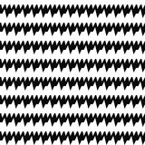 Seamless horizontal sharp edges lines pattern. Repeated black jagged stripes on white background. Zigzag motif. Stock Image