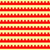 Seamless horizontal striped pattern. Repeated red embattled lines on yellow background. Heraldry motif. Abstract Royalty Free Stock Photos