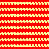 Seamless horizontal striped pattern. Repeated yellow curling ribbon lines on red background. Waves abstract background. Stock Photos