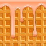Seamless horizontal texture Belgian waffles with smudges of pink glaze. Royalty Free Stock Photos