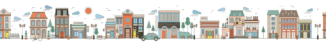 Seamless horizontal urban landscape with city street. Cityscape with beautiful buildings, residential houses, shops. Park, driving car. Modern colorful vector vector illustration