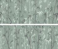 Seamless by horizontal wide banners with many bamboos in asian s Stock Images