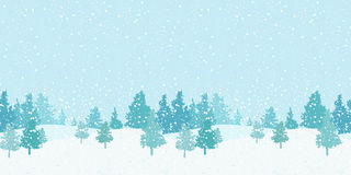 Seamless horizontal winter pattern. With snow and Christmas trees Royalty Free Stock Images
