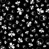 Seamless horror background. Vector seamless horror background with skulls and gas masks in black and white colors Stock Photography