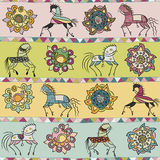 Seamless with horse, flower, and triangle pattern. Seamless texture with horses, flowers, and patterns. Use as a pattern fill, backdrop, surface texture Stock Images