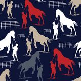Seamless Horse pattern on blue navy vector illustration