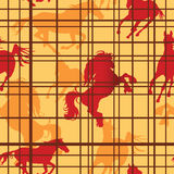 Seamless horses. Seamless pattern with horses silhouettes and cells. Vector illustration Royalty Free Stock Photography