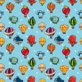 Seamless hot air balloon pattern Royalty Free Stock Images