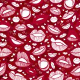 Seamless with hot love lips illustration Stock Photography