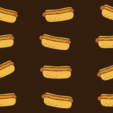 Seamless hotdog fasfood theme Royalty Free Stock Photos
