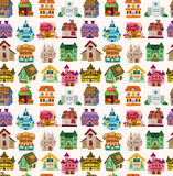 Seamless house pattern Stock Photos