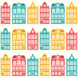 Seamless house pattern - Dutch, Amsterdam houses, mid-century modern style. Holland or Netherlands architecture repetitive design royalty free illustration