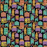Seamless House Pattern New-02. Bright colored seamless house pattern on black background, doodle house vector, cute colorfull houses in cartoon style, EPS 8 Royalty Free Stock Photo
