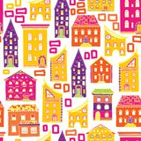 Seamless House Pattern New-05 Stock Images