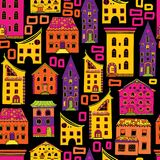 Seamless House Pattern New-01. Bright colored seamless house pattern on black background, doodle house vector, cute colorfull houses in cartoon style, EPS 8 Royalty Free Stock Images