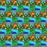 Seamless House Wallpaper Pattern Stock Photography