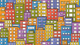 Seamless houses pattern Stock Photos