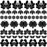 Seamless Hungarian black folk art pattern - floral Kalocsai embroidery Stock Photos