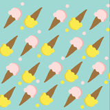 Seamless of Ice-cream cone with pink and yellow color on  cyan b Stock Image