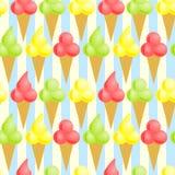 Seamless Ice Cream Cones Background stock illustration