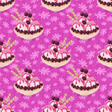 Seamless, Ice Cream and Floral Pattern Stock Images
