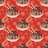 Seamless, Ice Cream and Floral Pattern Stock Photo