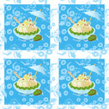 Seamless, Ice Cream and Floral Pattern Stock Photos