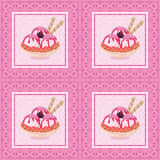 Seamless, Ice Cream and Floral Pattern Royalty Free Stock Images