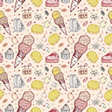 Seamless ice cream pattern Stock Photos