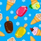 Seamless Ice cream pattern in. Seamless Ice cream pattern. Vector illustration blue Royalty Free Illustration
