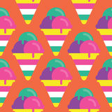 Seamless Ice cream Pattern, Candy Vector. Background cold  colourful  cone  cream  food green ice icon illustration  orange  pattern  pink  seamless sweet yellow Royalty Free Stock Photos
