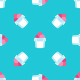 Seamless ice cream pattern on blue background texture Royalty Free Stock Photography