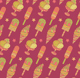 Seamless ice cream pattern in vector. Endless tasty sundae background. Seamless ice cream pattern in vector. Endless tasty sundae background stock illustration