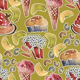 Seamless ice-cream pattern. Watercolor hand drawn summer beach print with ice lolly and Ice cream in a waffle cup stock illustration