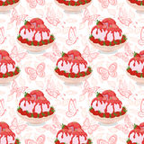 Seamless, Ice Cream, Strawberries and Butterflies Stock Images