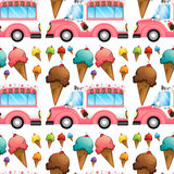 Seamless icecream and truck Royalty Free Stock Photography