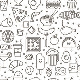 Seamless iconic pattern of fast food. Vector seamless pattern with outlined iconic illustration of food like coffee, pizza, wafer, burger, ice cream and Chinese Royalty Free Stock Image