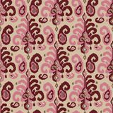 Seamless ikat pattern. Seamless ikat paisley pattern. Traditional oriental ethnic ornament. Burgundy red, pink and taupe on beige background. Textile design Stock Image