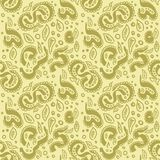 Seamless ikat pattern in yellow and white colors. Vector tribal background. Ethnic print for wallpaper, textile design vector illustration