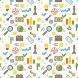 Seamless illustrated business themed line style vector pattern. With suitcases, arrows, light bulbs, graphs, charts, gears, coins and other objects mixed with Stock Photos
