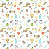 Seamless illustrated fitness themed line style vector pattern. With weights, dumbbells, champion cups, water bottles and other sports related objects and icons Royalty Free Stock Image