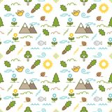 Seamless illustrated nature outdoors themed line style vector pattern. With mountains, trees, flowers, birds, fish and other objects mixed with abstract shapes Royalty Free Stock Photography