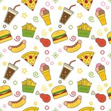 Seamless illustrated technology and science themed line style vector pattern. With burgers, hot dogs, sweet drinks, ice cream, fries, chicken and pizza mixed Royalty Free Stock Photo