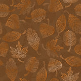 Seamless illustration with autumn leaves. Seamless pattern with autumn leaves painted against a dark background Royalty Free Stock Photography