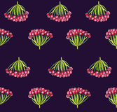 Seamless illustration with autumn viburnum berries on dark background. Pattern hand drawn with colored pencils. Stock Image